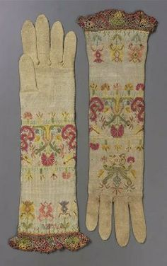 Pair of women's knitted gloves Italian, Italy Dimens. Pair of women's knitted gloves Italian, Italy Dimensions cm in.) Medium or Technique Silk; Historical Costume, Historical Clothing, Textiles, Vintage Accessories, Fashion Accessories, 17th Century Fashion, 19th Century, Vintage Outfits, Vintage Fashion