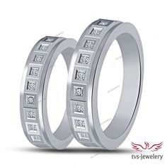 His & Her Couple's D/VVS1Diamond Engagement Band Ring With 14k White Gold Finish #tvsjewelery