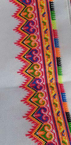 Colorful tone Cross Stitch Rose, Cross Stitch Borders, Cross Stitch Alphabet, Cross Stitch Flowers, Cross Stitch Designs, Cross Stitch Embroidery, Hand Embroidery, Cross Stitch Patterns, Blackwork
