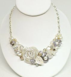 Ivory Bridal Bib Necklace- Floral Necklace- Ivory Wedding Statement Necklace- Pearls, Lace, & Rhinestones-Floral Accessories- Cream Jewelry via Etsy