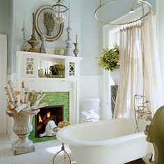 Instant Romance  Create a cozy retreat with a bathroom fireplace. If you're adding a fireplace, a vent-free electric unit is the easiest option.