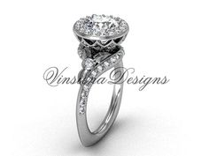 platinum diamond leaf and vine engagement ring by VinsienaDesigns