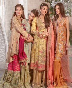 Yellow Angrakha Frock n Antique Brass Sharara Peach Dupatta - Buy Latest Pakistani Bridal Fashion Dresses for Bride 2020 Prices Pakistani Bridal Wear, Pakistani Outfits, Indian Outfits, Sharara, Anarkali, Lehenga, Saree, Salwar Kameez, Heavy Dresses