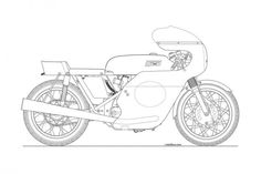 Photos: Some Classic Motorcycle Line Art Drawings Motorcycle line drawing 11 635x423