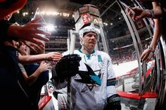 San Jose Sharks forward Joe Pavelski is congratulated by fans after registering his fourth career NHL hat trick in the Sharks' 4-2 road win over the Arizona Coyotes (Feb. 13, 2015).