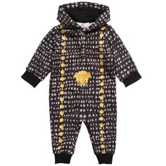 Young Versace Baby Boys Cotton Hooded Romper at Childrensalon.com