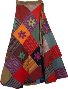 patchwork and applique wrap-around skirt