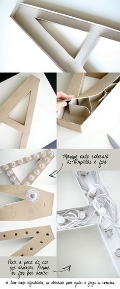 Marquee letter DIY using cardboard letter and holiday lights | Das Sagurias blog