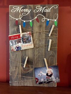 **Take 10% off now thru Friday Nov. 18th with coupon code -design10off  Wooden Merry Mail Holiday card display.  Handcrafted from pine, stained in general finishes walnut and hand painted. Lightly sanded for a distressed look. This is a rustic sign and there may be knots and imperfections in the wood. We believe that this makes each one beautiful and unique.  Sign available in 14X24, 14X30 or 14X36.  Hanging hardware included on back as well as 10 cloths pins and twine.  Ships in 3-5…