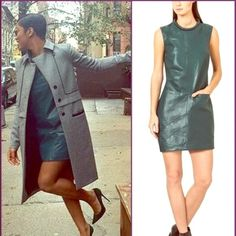 ASbyDF Brown Leather Shift Dress Hand cut and twisted with raw edge, sample item, never worn, amazing condition. Inside is lined with polyester paisley smooth sheath.  Two adorable pockets.  Looks very square on the hanger and adorable on, just look at Keke Palmer rocking it in black.  Brown color was never released. AS by DF Dresses