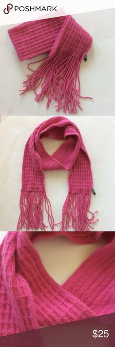"""Ann Taylor 100% Cashmere scarf Gorgeous Ann Taylor 100% Cashmere scarf in bright pink. Nice pop of color! Super soft. Fringed ends. Approx 62"""" long (excluding the fringe), approx 4 1/4"""" wide. Excellent condition. Ann Taylor Accessories Scarves & Wraps"""