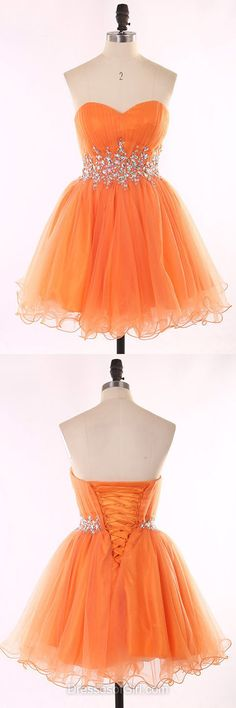 Sweetheart Prom Dresses, Low Back Formal Dresses, Beaded Evening Dresses, Orange Homecoming Dresses, Organza Party Dresses