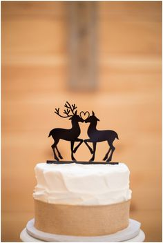 deer wedding cake toppers  //  Photographer: O'Byran Photography • Venue: Timber Line Barn • Cake: Beth's Bake Shoppe • Dress: Gracie's Bridal  •  Hair Stylist:Hair By Kacie  •  Floral Designer: Linda's Flowers