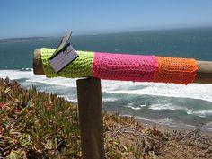 yarn bombing on the beach