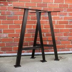 Table Leg A-Frame Steel Black Oxide Brick Wall