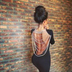 backless with silver chain