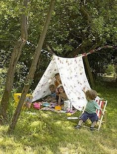 Make a super quick garden tent for the kids