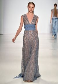 Lace Gown - STONE BLUE WEB LACE GOWN WITH JAPANESE KNOT WAIST.
