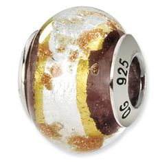 Reflection Beads Sterling Silver White/Gold/Brown Italian Murano Bead QRS1567