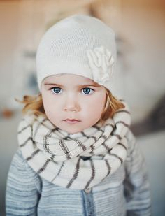 White alpaca wool hat / beanie for baby / toddler / girl by Ingugu