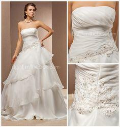 A-line Princess Strapless Organza And Satin Chapel Train Wedding Dress