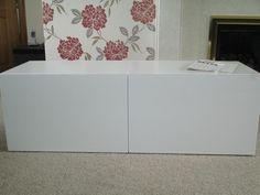 BESTA Shelf Unit With Doors, Without Back Hole, Vara White   Zoomly