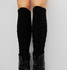 Hand Knit Boot Cuff Wool Chunky Leg warmersBlack Color by Sizana