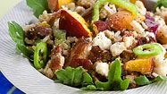 I need to try this salad!  Brown Rice, Quinoa, Peaches, Feta, Red Onion, Arugula