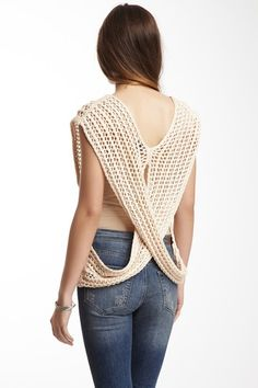 Open Stitch Back Crossover Top