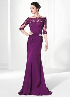 9604593194 Elegant Chiffon   Tulle Off-the-Shoulder Sheath Evening Dresses with Lace  Appliques Chiffon