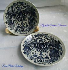 Blue Transferware German Castle Two Plates Designer Paul Hoyrup Nymolle Ceramics Denmark by EauPleineVintage on Etsy https://www.etsy.com/listing/288855547/blue-transferware-german-castle-two