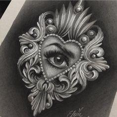 No photo description available. Chicanas Tattoo, Medusa Tattoo, Tattoo Fonts, Tattoo Drawings, Heart Tattoo Designs, Tattoo Sleeve Designs, Skull Tattoos, Body Art Tattoos, Filagree Tattoo