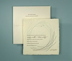 """""""Nest"""" letterpress wedding invitation by Oblation features birds and vines on a hand-made hand-torn deckled edge paper. Customize yours with Paper Passionista."""