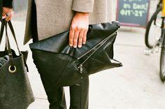©Toronto Street Fashion: men clutch, Cheap Monday Analog camera Minolta X-7A with Fujicolor 400