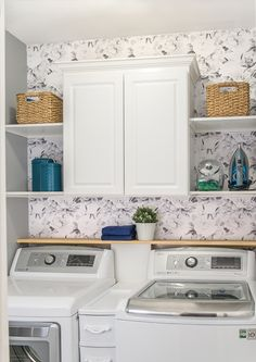 Organization Ideas living room Laundry Room Refresh Laundry Room Makeover and organization - Ideas for making a very small laundry room with storage and cabinet. Laundry In Kitchen, Laundry Room Cabinets, Laundry Decor, Small Laundry Rooms, Laundry Room Design, Diy Cabinets, Closet Laundry Rooms, Garage Laundry, Closets