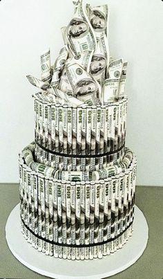 Money Birthday Cake, Money Cake, Creative Money Gifts, Creative Cakes, Beautiful Cakes, Amazing Cakes, Artist Cake, Fathers Day Cake, Birthday Party For Teens