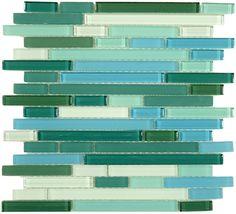 The Random Brick Series S31 Florida KEYS by Bella Glass Tiles.  A beautiful glass mosaic tile for kitchen BACKSPLASHES.