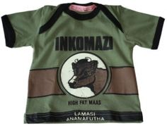 Keep a little South African heritage with these Kiddies T-Shirt which come in various infant, toddler & pre-school sizes.    Light green t-shirt with Inkomazi print details.    Designed and manufactured in South Africa.    0-3 months,3-6 months,6-12 months,12-18 months,2-3 years,3-4 years,4-5 years,5-6 years
