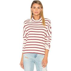 Stateside Wine Stripe Turtleneck (415 SAR) ❤ liked on Polyvore featuring tops, sweaters, basic tops, wine sweater, striped turtleneck sweater, turtle neck top, turtleneck top and stripe top