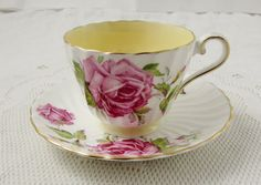 Aynsley Tea Cup and Saucer with Cabbage Rose, Yellow, Swirled Ribbing, Vintage Bone China