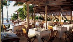 Kubu Beach restaurant Restaurant Design, Restaurant Bar, Tropical Beach Houses, Outdoor Dining, Outdoor Decor, Dining Area, Turks And Caicos, Commercial Design, Hotels And Resorts