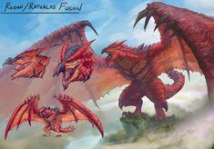 rodan & rathalos fusion by chipyray : GODZILLA Fire Demon, Demon King, Godzilla Vs, Curious Creatures, Monster Hunter, King Kong, Fantasy Art, Book Art, Concept Art