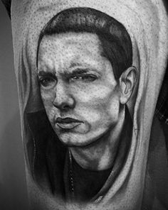 Eminem portrait Ink Instagram, Grey Scale, Black Ink Tattoos, Eminem, Black And Grey, Photo And Video, Portrait, Portrait Illustration, Portraits