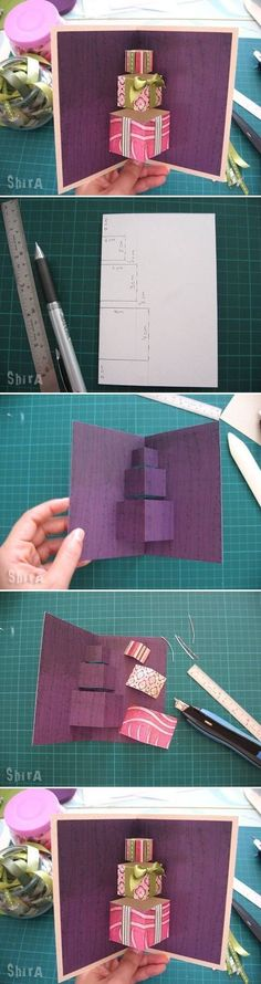 cardmaking photo tutorial: pop-up card ... popular stack of blocks/presents format ... great photos ...