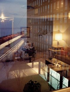 Mies van der Rohe, 860–880 Lake Shore Drive Apartment Buildings, Chicago, 1948–51; Frank Scherschel, Room reflections, as published by Life ...