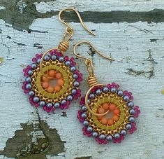 Beads and Wire wrapped into a colourful earring set