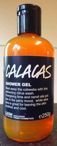 "Calacas Shower Gel: ""Blast away the cobwebs with this enlivening citrus wash. Energizing lime and neroli oils put you in the party mood, while aloe vera is great for leaving the skin soothed and cool"""