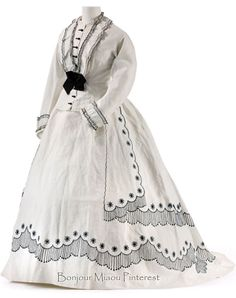 Summer dress, French or English, ca. 1866. Two pieces. White cotton, drawstring