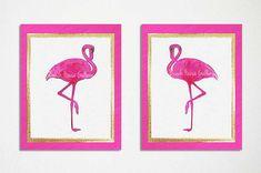 Hot Pink & Gold Art Flamingo Print Set by BeachHouseGallery, Starting at $25.00