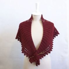 Crocheted BABY ALPACA Ribbed Shawlette in Embers Heather